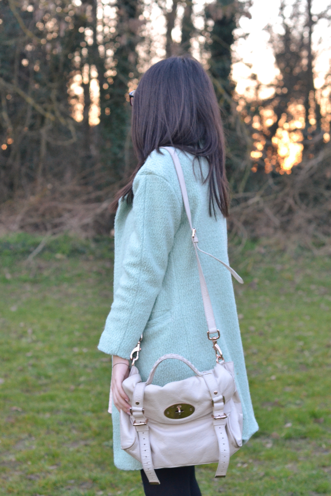 Daisybutter - UK Style and Fashion Blog: what i wore, pastels, mint green coat, how to style a mint green coat