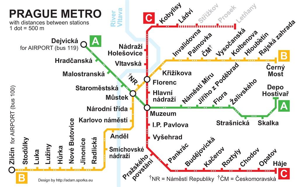 Plan du métro de Prague avec les distances entre chaque station - Image de Adam Sporka