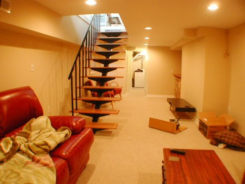 finished basement w floating stairs flickr photo sharing