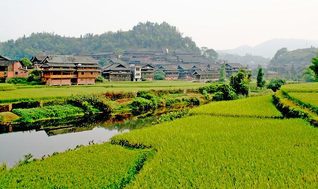 Aldea de Chengyang construida por la etnia dong. Provincia de Guangxi. China