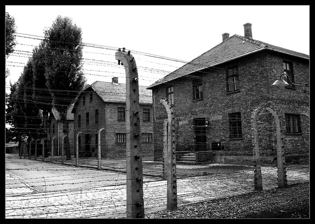 Auschwitz blocks and barbed wire fence flickr photo sharing