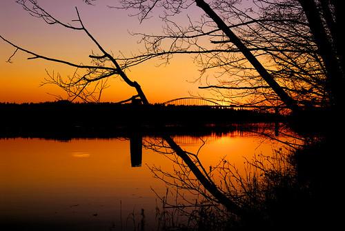 sunset reflection bc fraserriver portcoquitlam naturesfinest portmannbridge flickrsbest 2007112200002