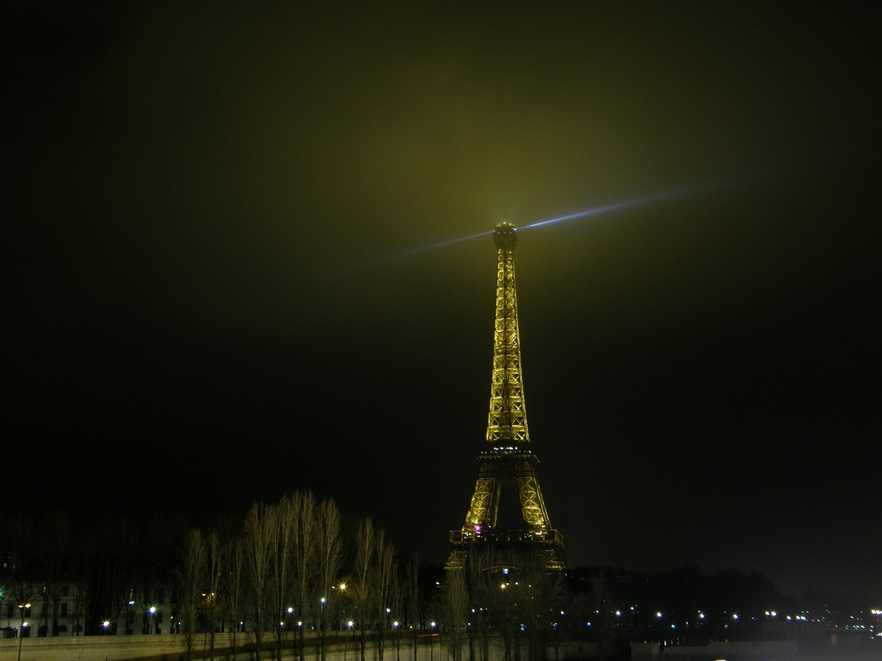 Eiffel Tower in a foggy night II