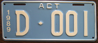 AUSTRALIA, AUSTRALIA CAPITAL TERRITORY 1989 DEALER plate D-0001