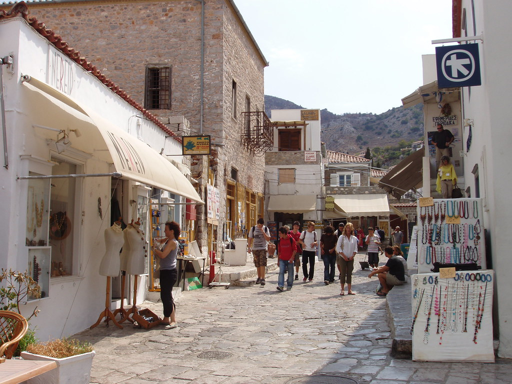 A shopping street in Hydra - lots of jewellery shops