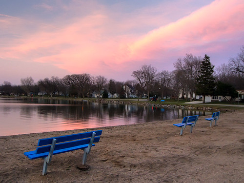 blue sunset beach bench iowa emmetsburg