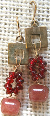 Garnet, Muscovite Sterling Silver Sculpture Earrings