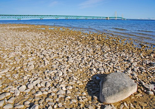 park travel bridge autumn light vacation sky usa color fall beach water landscape nikon rocks michigan greatlakes d200 nikkor polarizer upperpeninsula mackinacbridge mackinac mackinaw chippewa mackinawbridge chippewacounty michiganstatepark nikond200 18200mmf3556gvr scenicmichigan
