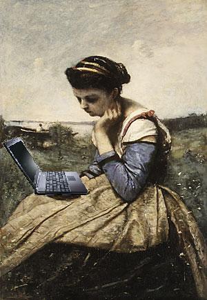 Blogging Au Plein Air,  after Jean-Baptiste-Camille Corot