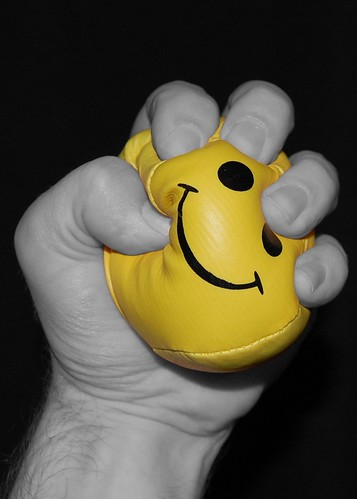 Stress ball being squeezed.