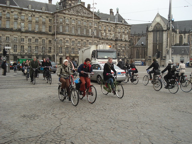 bikes during rush hour, amsterdam