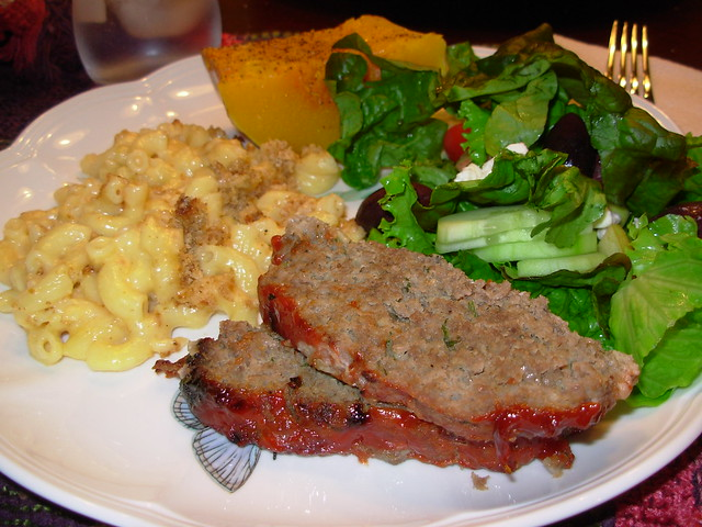 Meatloaf, Baked Mac & Cheese, Acorn Squash and Salad