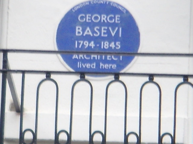 George Basevi blue plaque - George Basevi 1794-1845 architect lived here