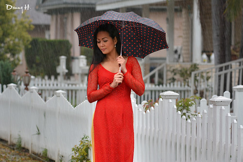 Ao Dai Do Red Vietnamese Traditional Dress Fashion