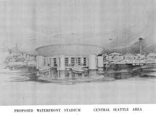 Proposed floating stadium, 1963