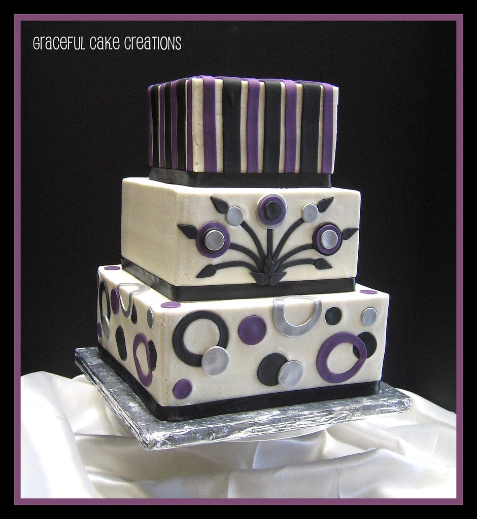 Black Silver And Purple Wedding Cakes Purple And Silver We