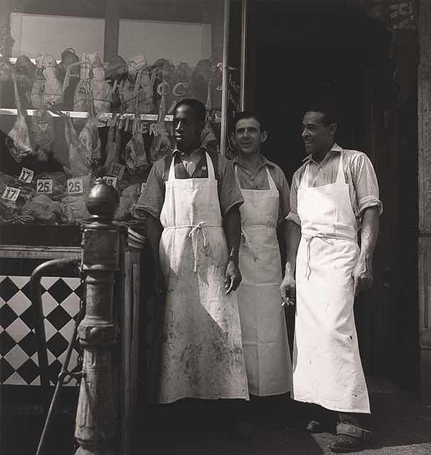 Meatmarket Owner and Butchers, from the project The Most Crowded Block, 1939-40, by Aaron Siskind