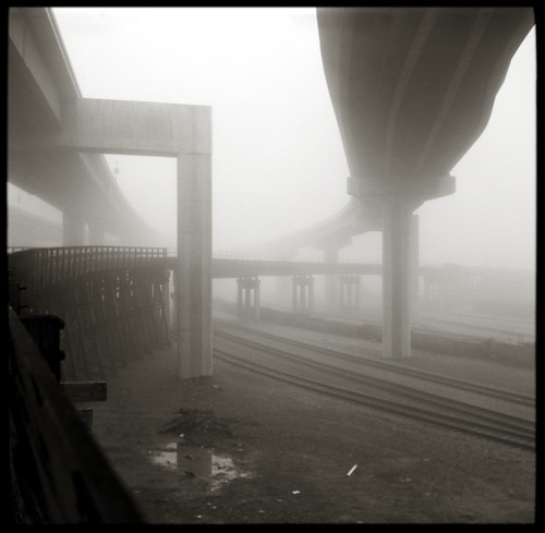 MacArthur Maze and former Key System trestle in fog