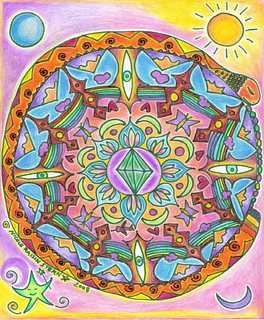 mandala, colored in