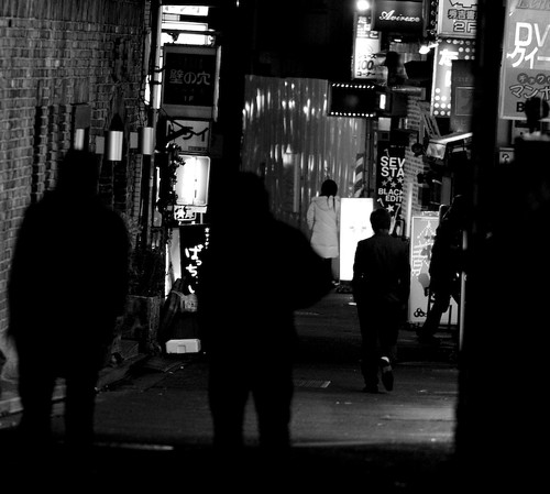 down a dark alley in Shibuya...