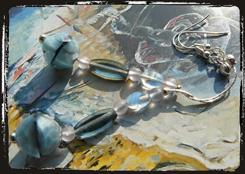 Orecchini azzurro blu fatti a mano - Blue earrings MEHCCLB
