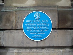 Photo of George Corson and Leeds School Board blue plaque
