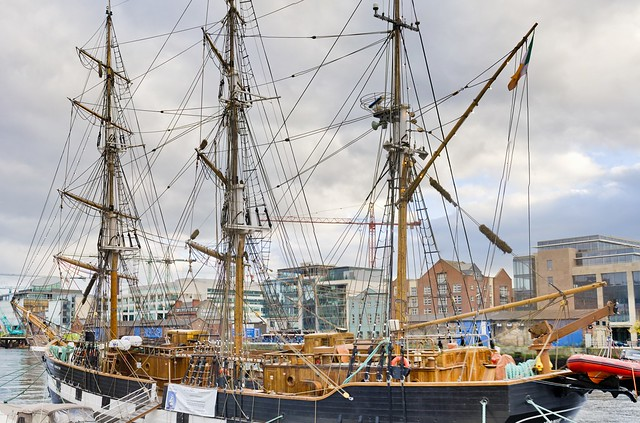 Dublin Docklands - The Jeanie Johnston is a replica of a three masted barque that was originally built in Quebec