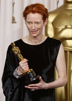 "Tilda Swinton wins the best supporting actress Oscar for her role in ""Clay Aiken in a garbagebag."""