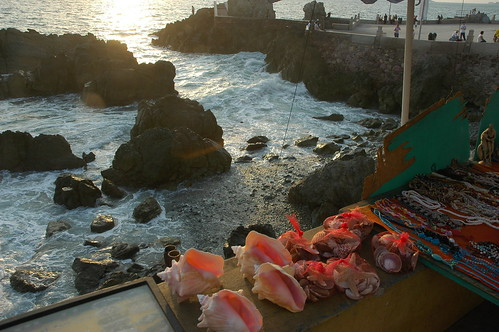 Sea shells by the sea shore, jewelry, rocks, waves, wood, statue, Pacific Ocean, pink, black, green, La Paz, Baja California Sur, Mexico by Wonderlane