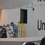 Steven F. Udvar-Hazy Center: Space Shuttle Enterprise (crew working by a hatch by the back starboard wing)