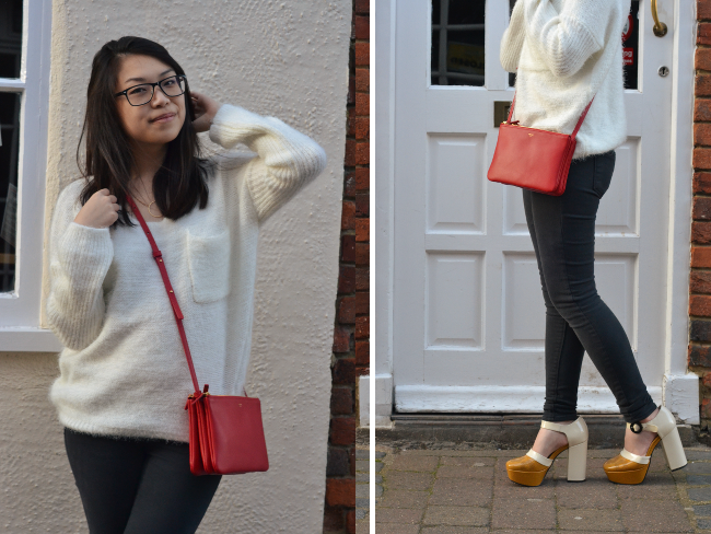 Daisybutter - UK Style and Fashion Blog: Orla Kiely for Clarks, Celine Trio Mini, fluffy jumper and jeans