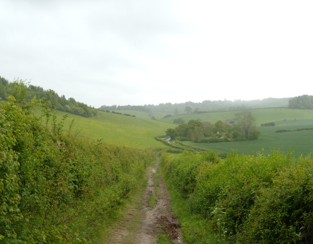 Winding lane Looking towards ruined church. Henley Circular via Stonor