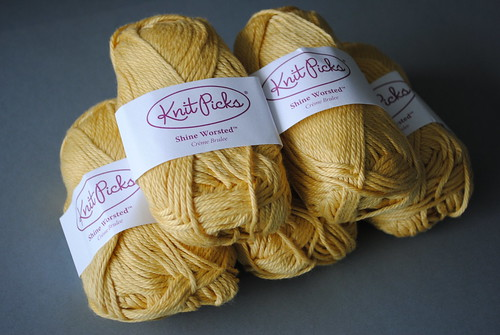 Five Skeins of Knit Picks Shine Worsted in Creme Brulee