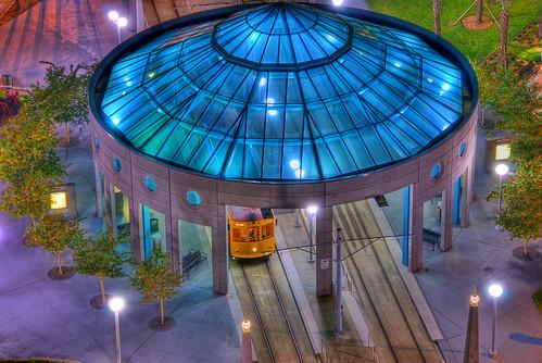 street blue usa glass car night marriott tampa lights hotel nikon florida tram rails nikkor hdr splendiferous 18200mmf3556gvr d80 tthdr subtlehdr p1f1 photology colourartaward hdratnight