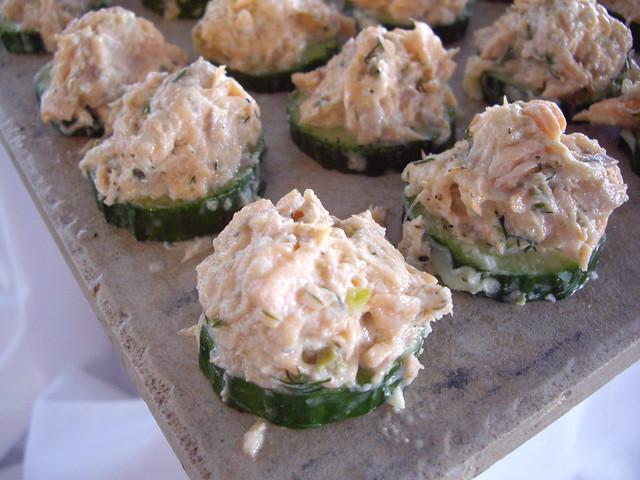 Salmon Rillette on a Cucumber Round with Dill Aioli | Flickr - Photo ...
