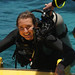 Audrey Scuba Diving, Climbing into Boat - Utila, Honduras