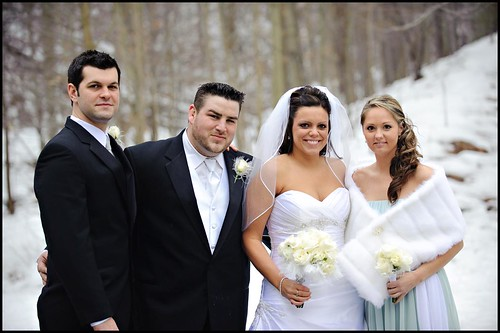 Winter Wedding bride groom best man and maid of honor