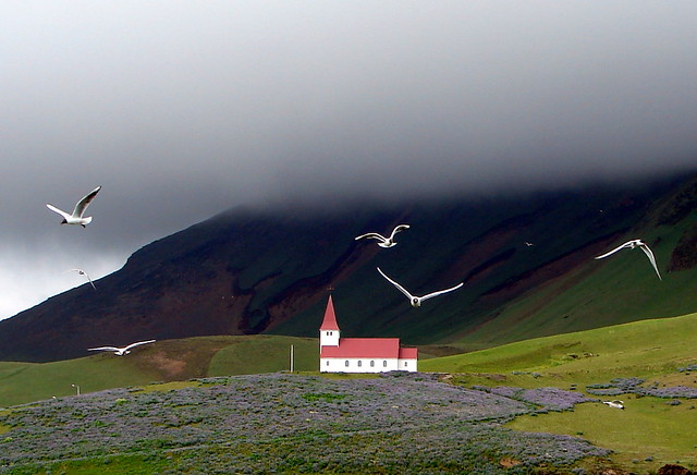 Icelandic country church at Vík, with gulls