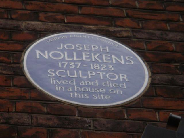 Joseph Nollekens blue plaque - Joseph Nollekens 1737-1823 sculptor lived and died in a house on this site