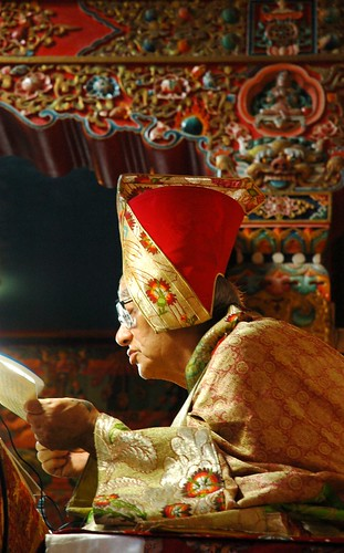 Transmission on the Triple Tantra: His Holiness Jigdal Dagchen Sakya reading a pecha, wearing formal silk robes, on his teaching throne, Tharlam Monastery of Tibetan Buddism, Boudha, Kathmandu, Nepal by Wonderlane