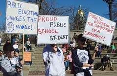 """Many public school students were among the crowd at the """"Educators For Justice"""" rally in Denver."""
