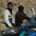 Pamiri Men on Motocycle - Ishkashim, Tajikistan