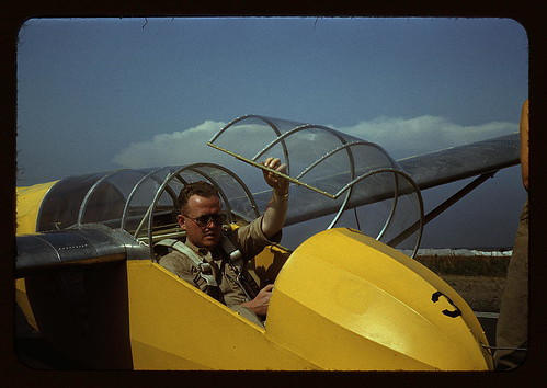 Marine glider pilot in training at Page Field, is watching take-offs, Parris Island, S.C.  (LOC)