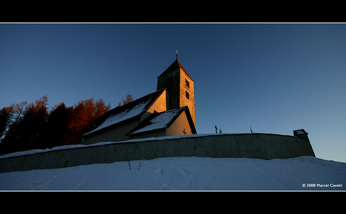 winter sunset snow church kirche falera