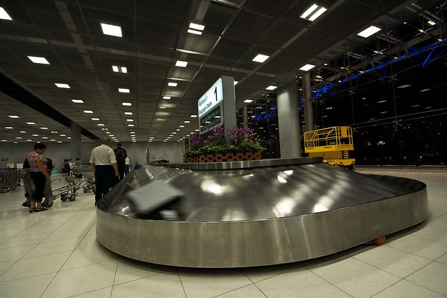 The baggage conveyor belt