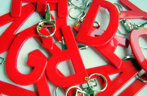 Keychains from vintage advertising letters