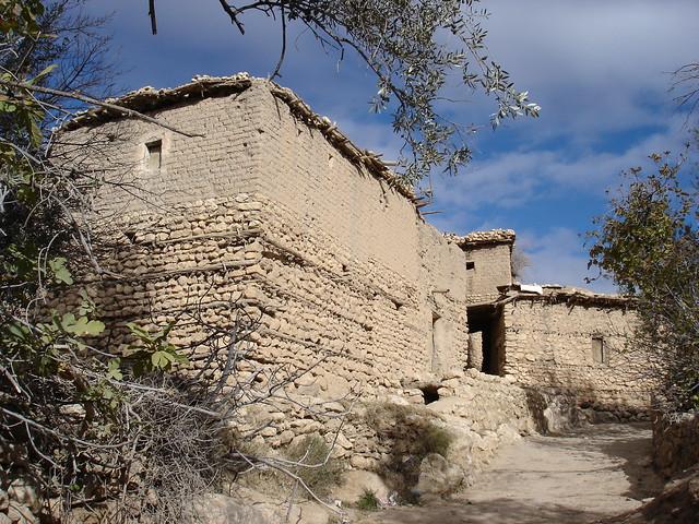 Mud-brik and stone houses in Al Mahreb, Ah Frah, Aures, Algeria