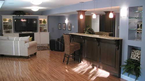 Featured project finished basement hibbs homes - Cool basement bar ideas ...
