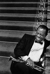 Louis Armstrong on set of High Society, 1956, by Bob Willoughby