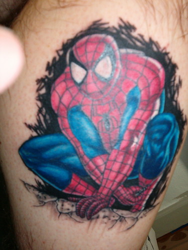 spiderman tattoo by Brian Tattootech in moraine Oh